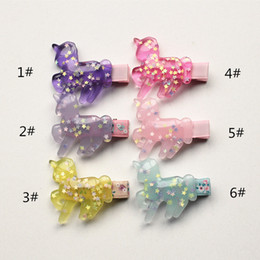 Plastic Barrettes Canada - 24PCS LOT Baby Hair Clips Pretty Hairpins Cute Horse Shape Haiepins Kids Hair Barrettes Plastic with Glitter Stars Sequins Inside