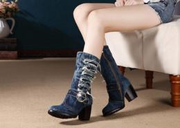 $enCountryForm.capitalKeyWord NZ - New Design Bootie Women Brand Denim Fashion Short Boots Thick Heels Side Zip Cowboy Boots jean boots Euro Size 35- 42