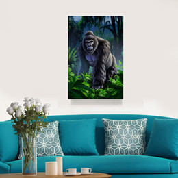 China Modernism Abstract Canvas Art Gorilla Painting Print on Canvas Wall Art Decor Animal Canvas Poster Pictures for Living Room Wall Painting suppliers