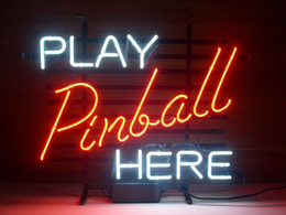 "pinball signs UK - 17""x14"" Play Pinball Here GAME ROOM Real Glass Tube BEER BAR PUB CLUB NEON LIGHT WALL SIGN"