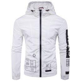 Slim White Sports Jacket Canada - Hooded Men Jacket Autumn Long Sleeve Waterproof Men Jacket High Neck Sport Style Casual Men Jackets Slim Plus Size Outwear For Mens T170716