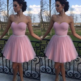 $enCountryForm.capitalKeyWord Canada - Modest 2017 Pink Sweetheart Short Prom Dresses Cheap Satin And Tulle Pleats Formal Party Homecoming Dress Custom Made China EN8288