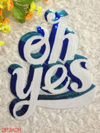 Embroidered Letter Iron Patches Canada - Ohyes Letter embroidered cloth patches iron on 28*24cm