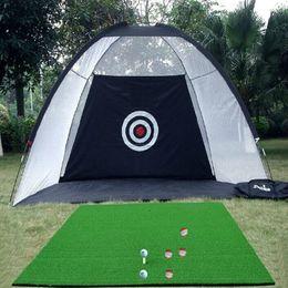 Discount golf practice mats - New Arrival 2m*1.4m*1m Golf Practice Net Swing Training Practice Swing Tool Golf Equipment Network Golf Training Accesso