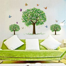New Pvc Fashion Green Tree Creative DIY Wall Sticker Carved Hollow Bedroom  Living Room Removable Decorating Sticker Decor 2017 Wholesale