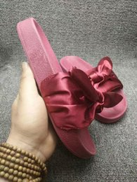 Faux Fur Booties Women Canada - With Box & Dustbag 2017 New Rihanna Leadcat Fenty Color Slipper Faux Fur Burgundy Slide Slippers Ladies Indoor Purple Pink Sandals