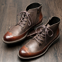 Lace tip shoes online shopping - US6 Mens Genuine Leather British Style Lace Up Wing tips Martin Boots Casual Winter Formal Dress Oxfords Fretwork Boots Brogue Shoes
