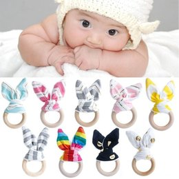 Wood Teething Rings Canada - Hot Sale Baby Teething Ring Teether Natural  Wood Circle With Fabric 22daf0d59
