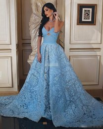 Zuhair Murad Vestidos Baratos-Zuhair Murad Sky Blue Lace Mujer Vestidos de noche 2017 Ball Gown Sweetheart Backless con tren Sexy Celebrity Gowns Long Prom Prom Dress