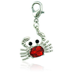 crab jewelry UK - Wholesale Fashion Floating Lobster Clasp Charms Crystal Crab Animal Pendants DIY Charms For Jewelry Making Accessories