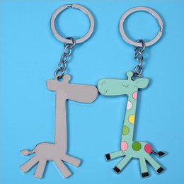 Giraffe Keychain Canada - 4 Color Giraffe Classic Metal keychain 556312c6fa