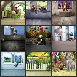 $enCountryForm.capitalKeyWord Canada - wholesale custom 125x150cm wood floor 3D cartoon animals for photography studio vinyl backdrops children photo digital background baby props