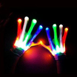 Glow Party Decorations Australia - LED Flash Gloves Colorful Glow Finger Light Up Glove Christmas Halloween Party Concert Decoration Novelty Toys ZA3737