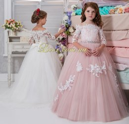 $enCountryForm.capitalKeyWord NZ - Arabic Lace Beaded 2017 Flower Girl Dresse Half Sleeves Ball Gown Vintage Tulle Little Girls Pageant Birthday Gowns