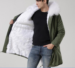 lined green army parka Australia - meifeng brand white raccoon fur hoody white rabbit fur lining army green canvas long parkas fur lined jackets