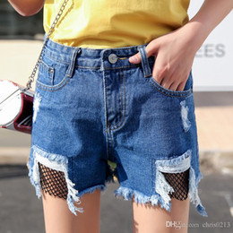 Pantalones Largos De Las Señoras De La Pierna Baratos-Summer New Cheap Lady's Shorts Cowboy Pants Fishing Net Jeans Pantalones anchos