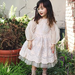 Barato Menina Bege Vestido De Renda-Everweekend Girls Tutu Lace Party Dress Bege Color Ruffles Princess Autumn Vestido de festa Sweet Children Fashion Dress