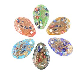 $enCountryForm.capitalKeyWord NZ - Factory Price Good Quality Headdy Millefiori Glass Pendants Floral Gold Sand Multi-Color Fused Lampwork Glass Pendants 12pcs pack MC0100