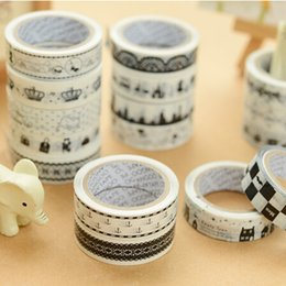 Barato Máscara De Papel Diy Para O Rosto-Atacado - 2016 NOVO! 15mm Adehive Tape Black White set Imprimir Scrapbooking DIY Craft Sticky Deco Mascaramento Japanese Washi Tape Paper Lot 10m