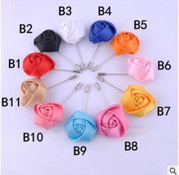 Green Ribbon Pins NZ - Rose flowers brooches pins suits dress corsages ceremony wedding brooches ribbon manual cloth corsage 15 colors