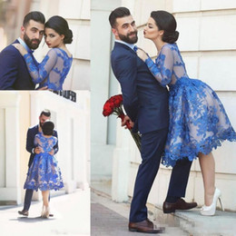 $enCountryForm.capitalKeyWord NZ - Royal Blue Saudi Arabia Prom Dresses See Through With Lace Appliques Knee Length Long Sleeves Evening Party Gowns Homecoming Wears 2017