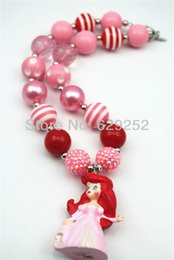 $enCountryForm.capitalKeyWord Canada - Fashion Jewelry Cartoon Character Princess Pendant Chunky Bubblegum Beaded Girl Necklace for kids Pink CB217