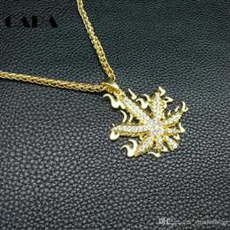 pendants out leaves Australia - CARA Trendy Bling Bling Rhinestone Iced out hip hop necklace pendant Gold color 29'' flame leaves men punk necklace jewelry CAGF02