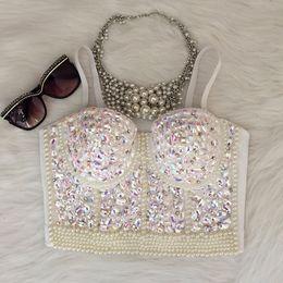 9363ff0c9 Wholesale- Gorgerous Rhinestone Bead Pearls Bustier Push Up Wedding  Bralette Women s Bra Cropped Top Vest Plus Size