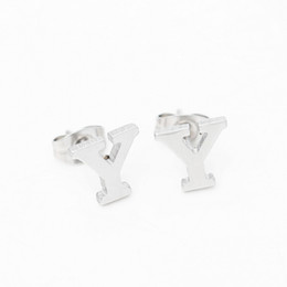 Wholesale Letters Stud Earrings Stainless Steel J Y S Capital Letter Alphabet Earring pairs Set Women Charm Jewelry Gift
