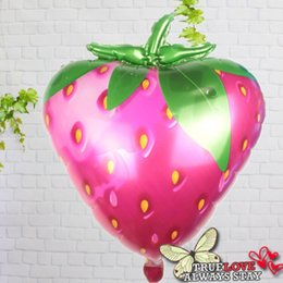 Discount fresh fruit decorations 20pcs lot 72*58cm Fresh Fruit Strawberry shape foil balloons festival birthday party decoration supplies inflate ball to