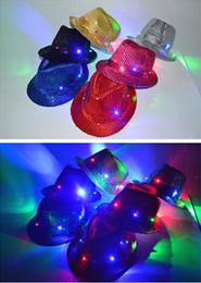 Flashing Fedora hats online shopping - Adult Women Men Fedora LED Flashing Sequins Light Up Jazz Cap Hip Hop Hat Party Birthday Hats Cap Christmas Wedding