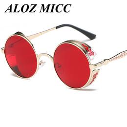 Discount purple red color - Round Metal Sunglasses Steampunk Men Women Fashion Glasses Brand Designer Retro Vintage Sunglasses UV400 A101