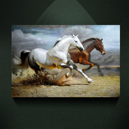 $enCountryForm.capitalKeyWord NZ - Modern Abstract Canvas Art Galloping White Horse Brown horse Painting Print on Canvas Wall Art Decor Canvas Poster Pictures for Living Room