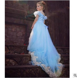 $enCountryForm.capitalKeyWord Canada - Cinderella Floor-length Blue Dresses For Little Girl Princess Lace Long Dress Children kids Cosplay Costumes Special Occasions Dress