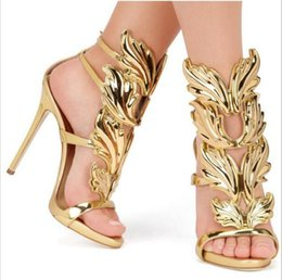 $enCountryForm.capitalKeyWord Canada - New Summer Women High Heels Gold Winged Leaves Cut-outs Stiletto Gladiator Sandals Flame Party High heel Sandal Shoes Woman