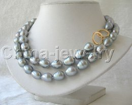 "$enCountryForm.capitalKeyWord Australia - P2802 - 33"" 13mm natural gray baroque freshwater pearl necklace -14k gold filled"