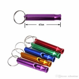 Wholesale Factory Price Mini Aluminum Whistle Dogs For Training With Keychain Key Ring Outdoor Survival Emergency Exploring