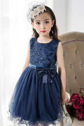 Discount flower ball navy - Girls Dresses for Party and Wedding 2017 Navy Blue Lace Flower Girl Princess Costume With Sequins Kids Dress