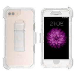 Clear Rugged Cases NZ - For iphone 7 Plus Case 6 Plus Cryatal Robot 3 in 1 Clear TPU Defender Case Rugged hybrid Cases with Belt Clip A