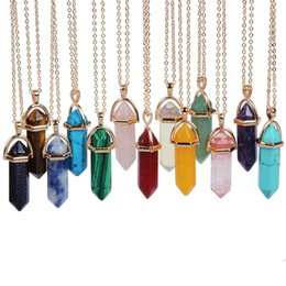 China Fashion Leather & Silver & Gold Natural Crystal Point Stone opal Quartz Pendant Necklace Choker Turquoise Stainless steel chain Jewelry suppliers
