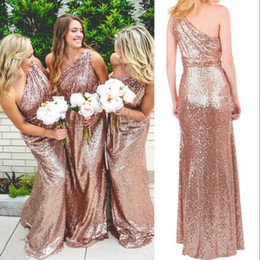 Barato Vestido Elegante Do Ombro Do Ouro Um-Sparkling Rose Gold Sequins Vestido de dama de honra Fashion One Shoulder Sleeveless Elegant Long Wedding Party Vestidos 2017 New Sexy Prom Dress Cheap