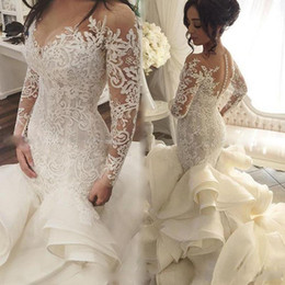 Discount long black illusion neckline dress - 2019 Vintage See Through Neckline Wedding Gowns Lace Appliques Long Sleeve Backless Fashion Tiered Cascading Ruffles Bri