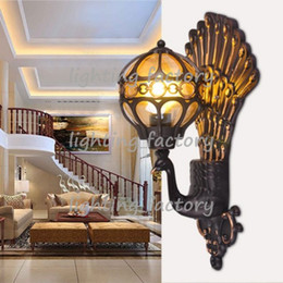 Outdoor Wall Lamps Exterior Lantern Lamp Antique Vintage Creative Peacock  Shape Aluminum Outdoor Light Fixture Wall Lighting European Style Peacock  Lamps ...