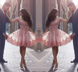 $enCountryForm.capitalKeyWord Canada - Pink Short Lace Prom Dresses Cap Sleeves Appliques Plus Size Knee Length Cocktail Homecoming Dress For Juniors Prom Party Gowns
