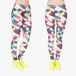 multi color yoga pants Canada - Women Leggings Color Triangles 3D Graphic Print Lady Skinny Stretchy Yoga Wear Pants Tight Capris Colorful Pattern Soft Trousers (J31731)