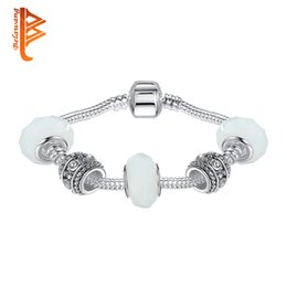 White Silver Bracelet Australia - BELAWANG Silver Charm Bracelet Bangle for Female With White Murano Glass Beads Charm DIY Jewelry Wedding Jewelry 18-20cm Free Shipping