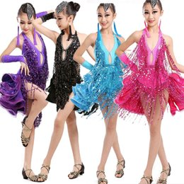 Barato Meninas Vestidos De Desempenho Sequin-Girls professional Dancewear Vestido de dança latina Kids Tassels Sequins Tango Ballroom Dance Dresses Kids dacing Dress Stage Performance Outfits