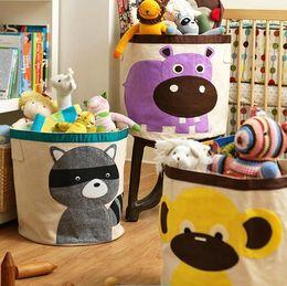 Folded Laundry Basket Canada - Nice- Nice New Large Capacity Baby Cartoon Animals Receive A Bucket Of Folding Laundry Basket Receive Bag Childrens Toys Cotton B