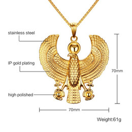 Fly Halloween Costumes Canada - Beichong Men Necklaces Gold Plate Egyptian Flying Horus Bird Falcon Holding Ankh Pendant Fashion Hip Hop Costume Jewelry Vintage Choker