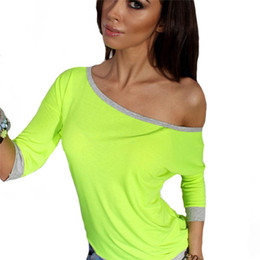 c64ce5c43 2019 New Fashion Hot Women T Shirt Long Sleeve O Neck Sexy Autumn and Winter  Top Solid Cotton Womens Shirts Green
